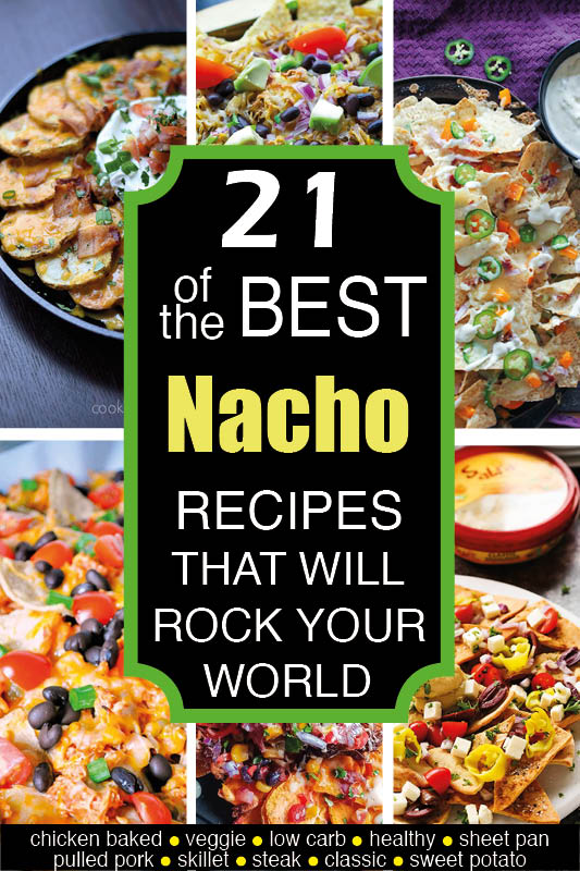 The BEST nacho recipes out there, whether you're into chicken, pulled pork, veggie, steak nachos, low carb nachos, skillet nachos, breakfast nachos or learning how to make nachos with unusual ingredients (like sweet potatoes).  We've got you covered - for potlucks, super bowl parties or just a fun evening in.  Check out this ultimate list of the most AMAZING and beautiful nachos on the web! #nachos #superbowl #superbowlsnacks #superbowlparty #potluck #tailgating