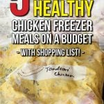 These chicken freezer meals are the perfect solution to family dinners on busy weeknights. They're cheap to make on a budget, healthy (if you're into clean eating), and easy to make ahead of time. We've included a simple shopping list to make your life even easier!