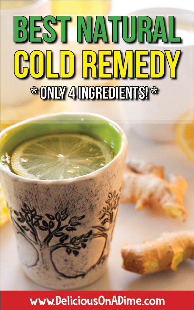 Looking for the best natural cold remedy around? Do you have a sore throat? Runny nose? Non-stop sneezing? Annoying congestion? Or maybe your kids do. Wondering how to get rid of this cold - FAST? This natural cold remedy (it's a simple tea!) is the BEST and it only takes a few ingredients you might already have - apple cider vinegar, lemon, ginger and honey.