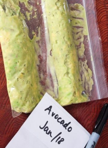 Mashed avocado in resealable plastic bag.
