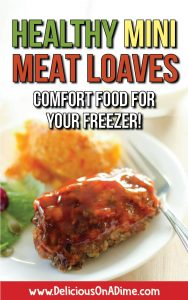These Healthy Mini Meatloaves are delicious comfort food that's freezer friendly! Make them as an easy dinner and then freeze the rest for another simple meal! Or just make a whole batch while you're freezer cooking, for quick dinners anytime!
