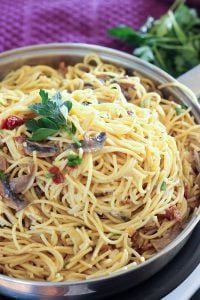 Mushroom, Bacon and Parmesan Pasta in Frying Pan.