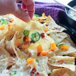 Jalapeno Popper Nachos with Garlic Cream Sauce - gluten free, oven baked delicious snack for parties or just dinner!