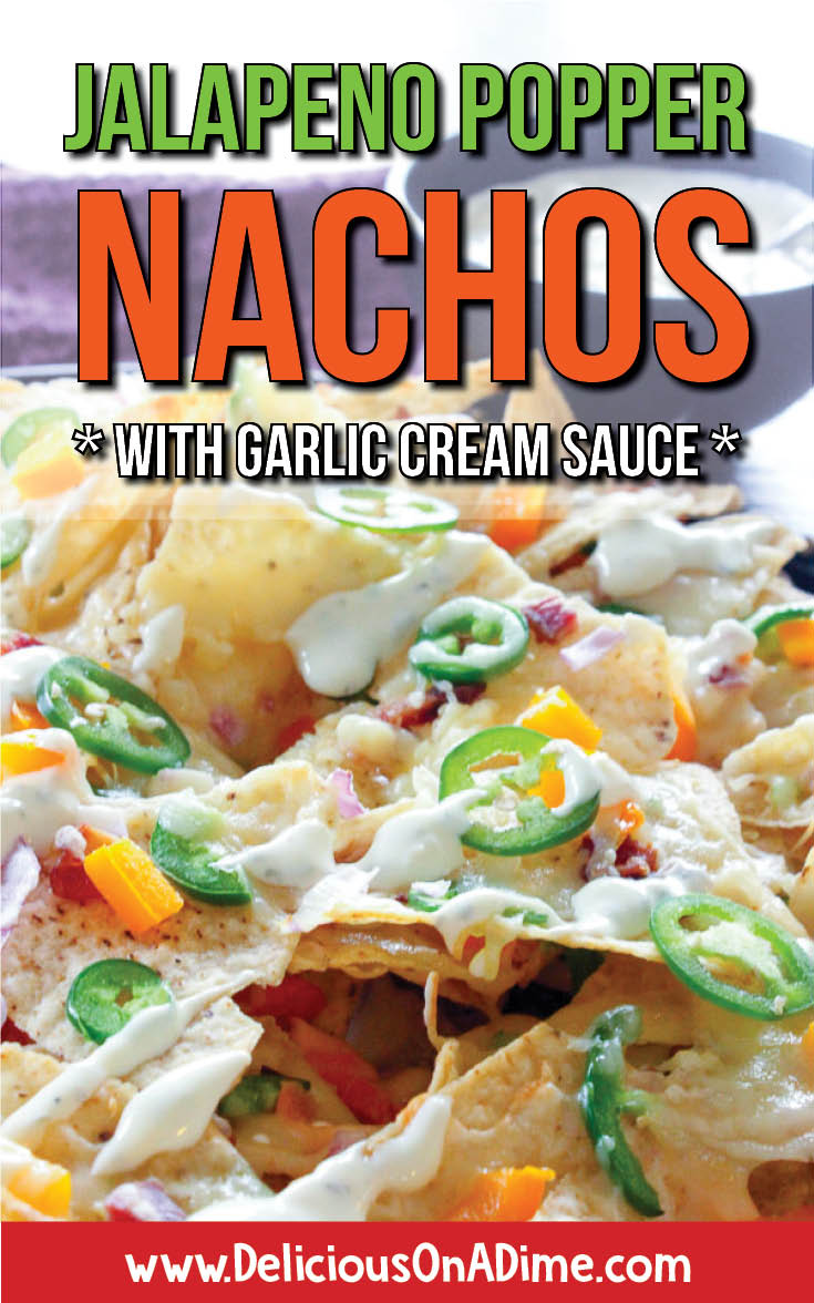 These oven baked Jalapeno Popper Nachos are perfect for parties, dinners, snacks or Super Bowl appetizers. Crispy (and gluten free!) tortilla chips, smoky bacon, spicy jalapenos and a garlicky cream sauce make them a delicious and fun recipe to serve up anytime! #superbowlsnacks #potluck #partyappetizers #partyfood #tailgating