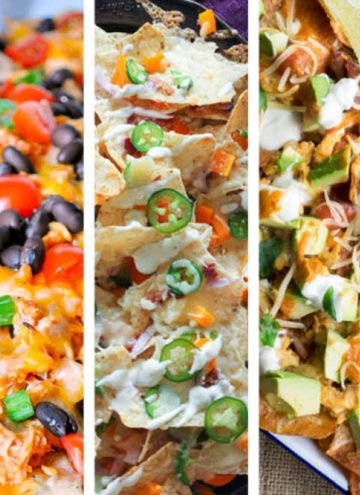 Photo collage of nacho recipes.