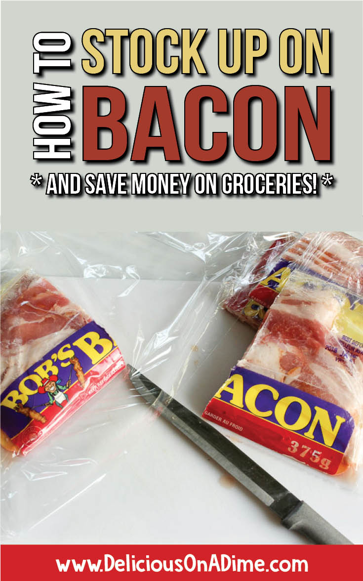 There are so many amazing reasons to stock up on bacon!  Bacon in sandwiches, bacon in salads, bacon in soup, bacon on cheeseburgers, bacon with brunch.  Do you love bacon?  Find out how to save money on groceries and eat more bacon at the same time! 🙂 #savemoney #savemoneyongroceries #bacon #freezercooking #grocerybudget