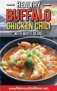This Healthy Buffalo Chicken Chili (with creamy white beans!) is easy and healthy – and a fun twist on traditional chili. It's comfort food that's quick enough for a weeknight dinner, and it's freezer-friendly too!