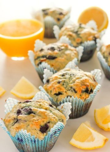 Lemon blueberry muffins and glass of orange juice