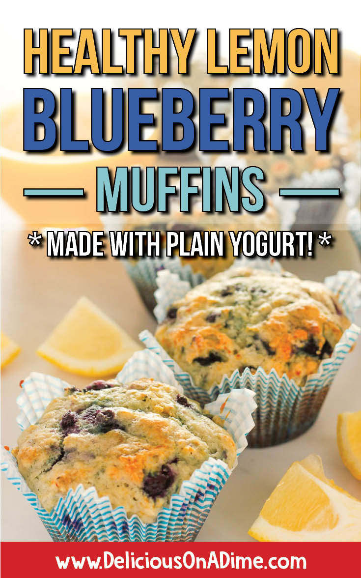 These Healthy Lemon Blueberry Muffins are like a warm sunny day in the middle of winter.    Whether you're into clean eating or just looking for a new breakfast idea to make your mornings easier, these lemon blueberry muffins are so refreshing and lovely!  Yogurt and honey make them healthier than traditional muffins, and we have tips for how to keep ingredient costs down! #muffins #healthymuffins #savemoneyongroceries #healthysnacks #freezerfriendly