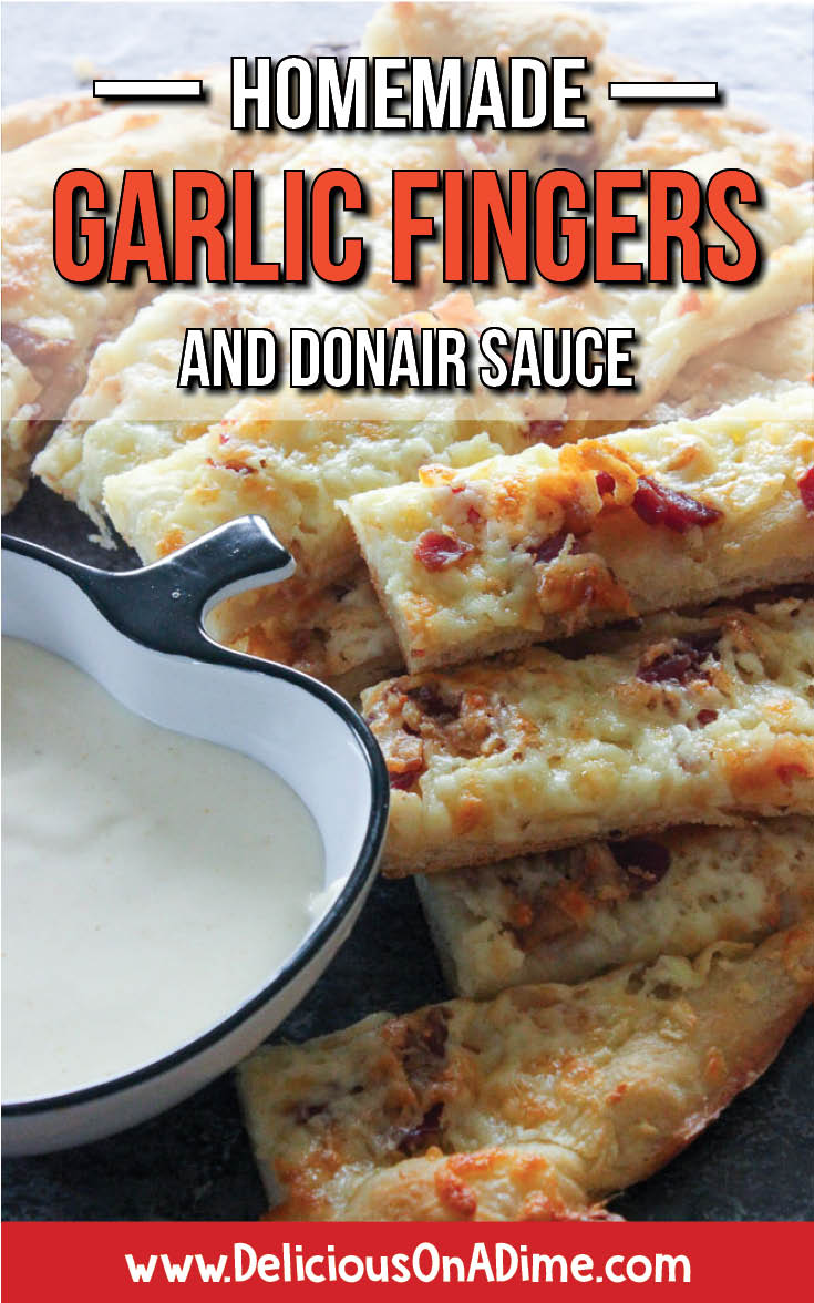 East Coasters, these Homemade Garlic Fingers and Donair Sauce are for you! And for any friends you want to convert to lovers of the most delicious appetizer around. Whether you need party food for adults, OR kids, easy snacks for tailgating or Super Bowl, or cheap recipes for entertaining, THIS is your recipe. Enjoy!