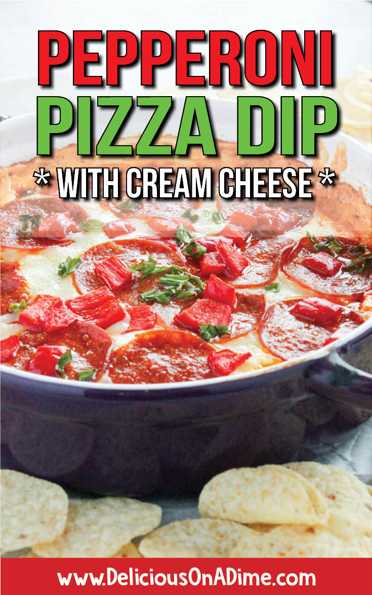 This Pepperoni Pizza Dip (with cream cheese) is the perfect appetizer for a party or potluck when you want to please everyone. It's hot, easy, cheesy and delicious, not to mention gluten free and can be made vegetarian. Perfect for Super Bowl, tailgating, or just snacking!