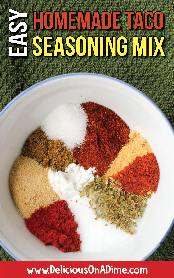 This Homemade Taco Seasoning Mix is so easy to make you can throw it together in two minutes.  Ditch the store-bought seasoning packet full of strange ingredients and enjoy this healthy, clean eating alternative.  It's delicious on ground beef, ground turkey, black beans, chicken and more!  Mix up a big jar and it's perfect for families on the go! #tacoseasoning #tacotuesday #seasoningmixes #savemoneyongroceries #spices #texmex