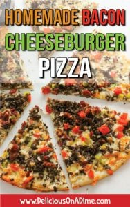 This Homemade Bacon Cheeseburger Pizza combines two foods most people LOVE – pizza and cheeseburgers. Seasoned ground beef, delicious sauce and tangy pickles on a thick or thin crust. Make it for dinner tonight, for parties or potlucks, or to stock in your freezer. It's a crowd-pleaser! Everyone loves it!