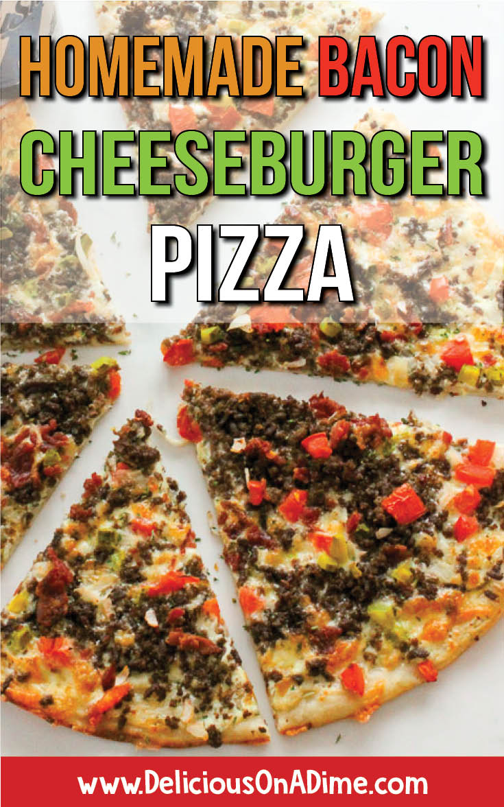 This Homemade Bacon Cheeseburger Pizza combines two foods most people LOVE - pizza and cheeseburgers.  Seasoned ground beef, delicious sauce and tangy pickles on a thick or thin crust.  Make it for dinner tonight, for parties or potlucks, or to stock in your freezer.  It's a crowd-pleaser!  Everyone loves it! #pizza #bestpizza #cheeseburger #cheeseburgerpizza #freezerfriendly #partyfood #appetizers #foracrowd
