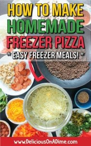 Photo linking to post on How to Make Homemade Freezer Pizza, with background of pizza ingredients