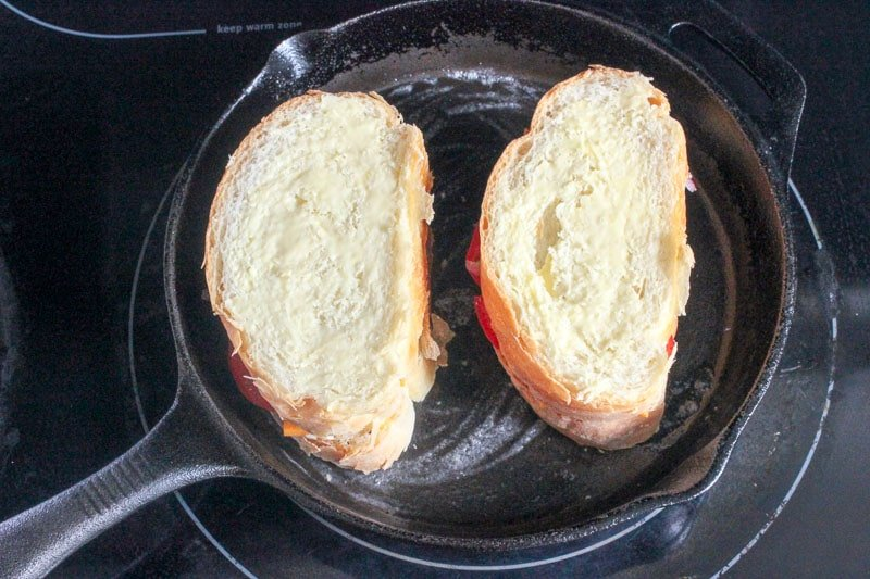 Grilled Cheese, Tomato and Onion Sandwiches in Cast Iron Frying Pan.