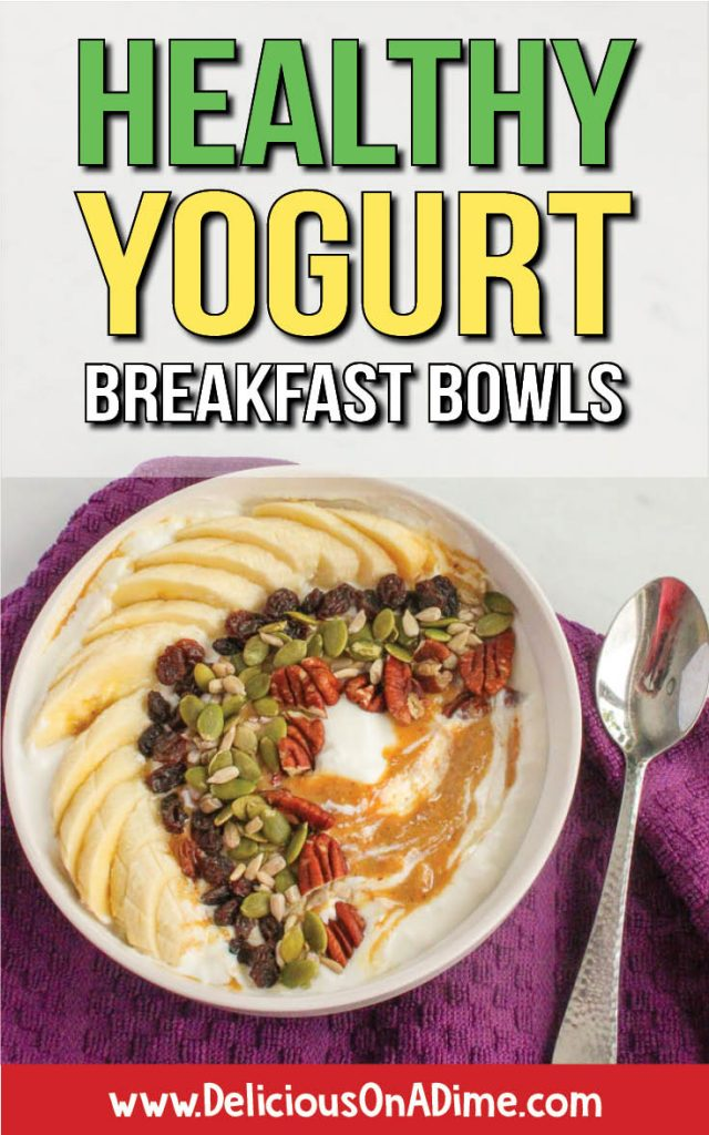 Bowl of banana, seeds, raisins, nuts, yogurt and peanut butter with spoon on purple background.