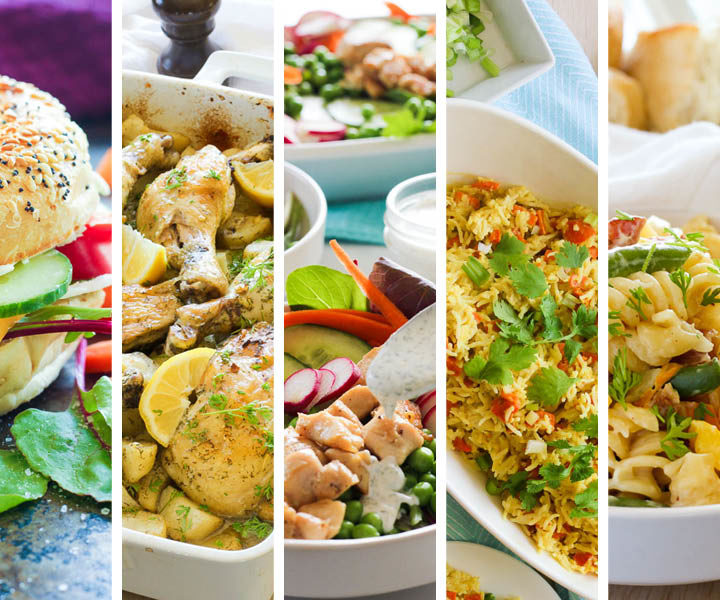 Spring inspired meals - bagel sandwich, chicken and potatoes, fresh salad, curry chicken and rice, pasta primavera