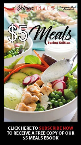 Cover of $5 Meals eBook with salad on cover.