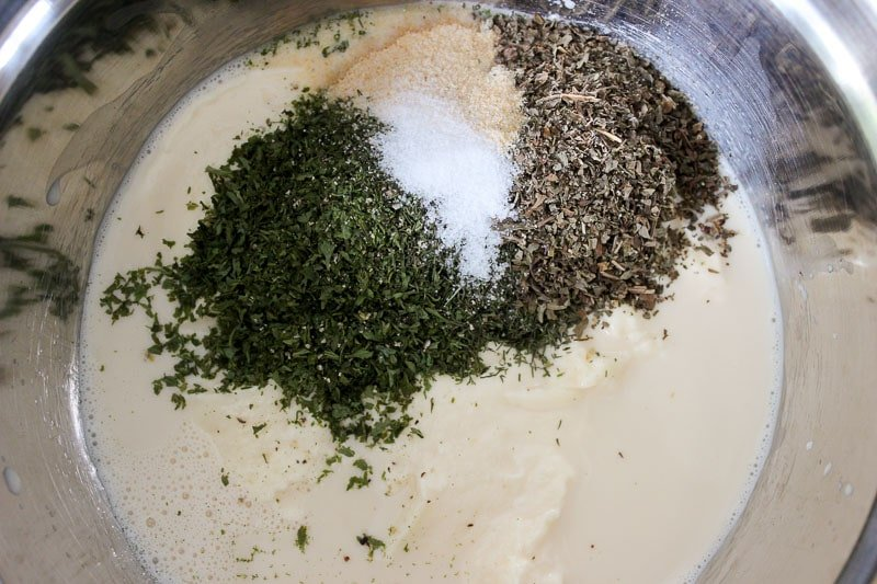 Evaporated milk, mayo, dried herbs and spices (creamy ranch sauce)