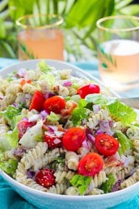 Bacon, Lettuce and Tomato Ranch Pasta Salad in Blue Bowl.