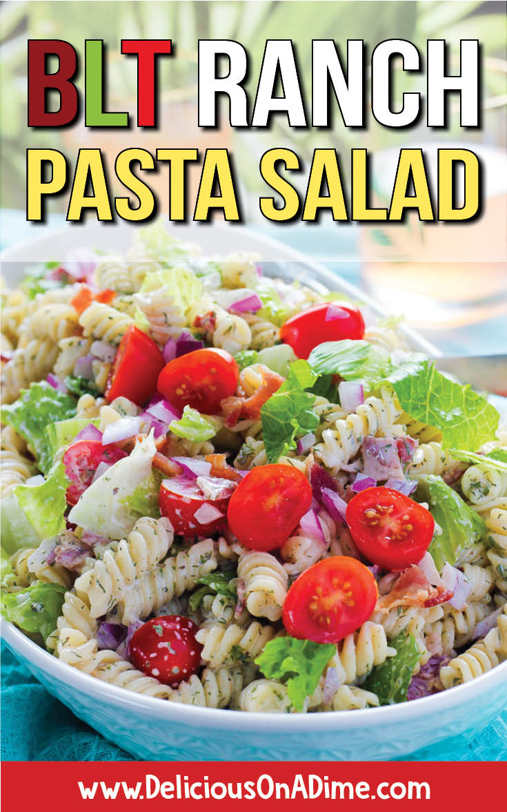 The BEST creamy cold pasta salad recipe for your next BBQ, picnic, potluck, party, or just for lunch!  If you need simple summer side dishes for a crowd, you'll love it.  Perfect for kids or family gatherings!  Easy to make gluten free with the right pasta (you can even use bowties, macacroni, penne or shells!).  With a creamy, zesty ranch dressing.  Leave out the bacon to make it vegetarian. #summerrecipes #pastasalad #potluckrecipes #partyfood
