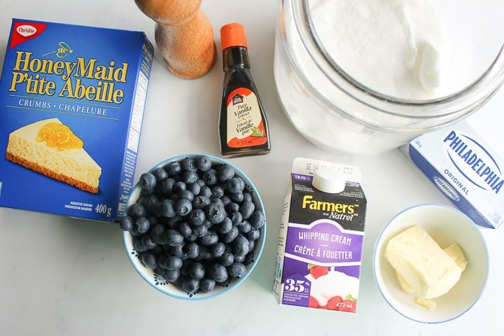 Ingredients for easy no bake blueberry cheesecake