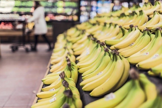 Ripe bananas in grocery store