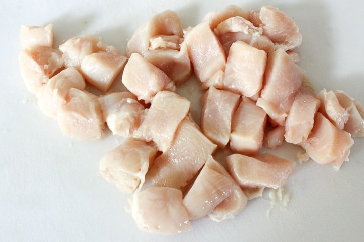 Chunks of raw chicken