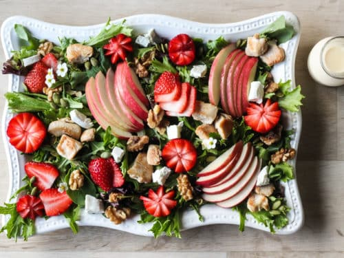 Platter of Strawberry Chicken Salad - with dressing