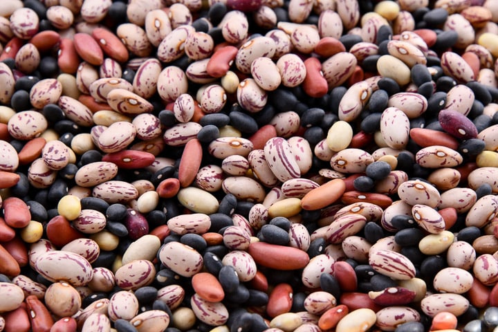 Mixed beans of various colours
