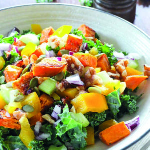 Salad with Kale, Sweet Potatoes and Creamy Maple Curry Dressing is easy and delicious