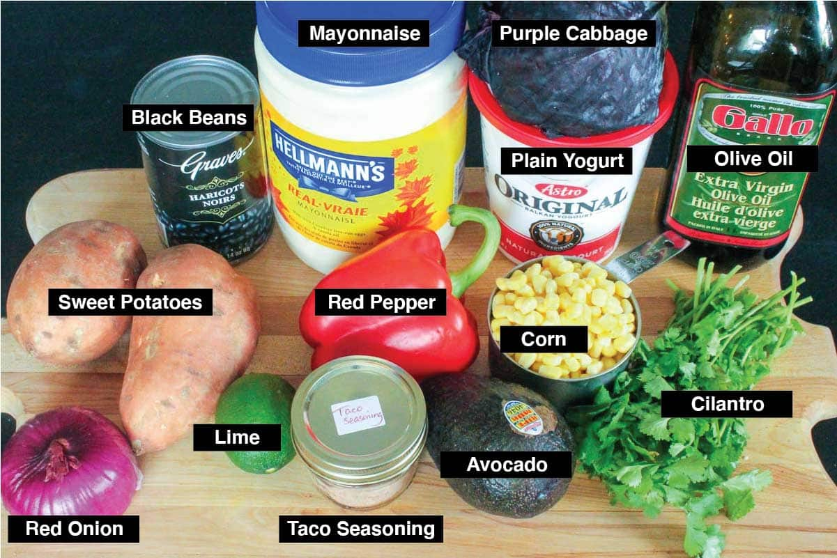 Labelled photo of recipe ingredients including sweet potatoes, black beans, red onion, cilantro, avocado, corn and lime