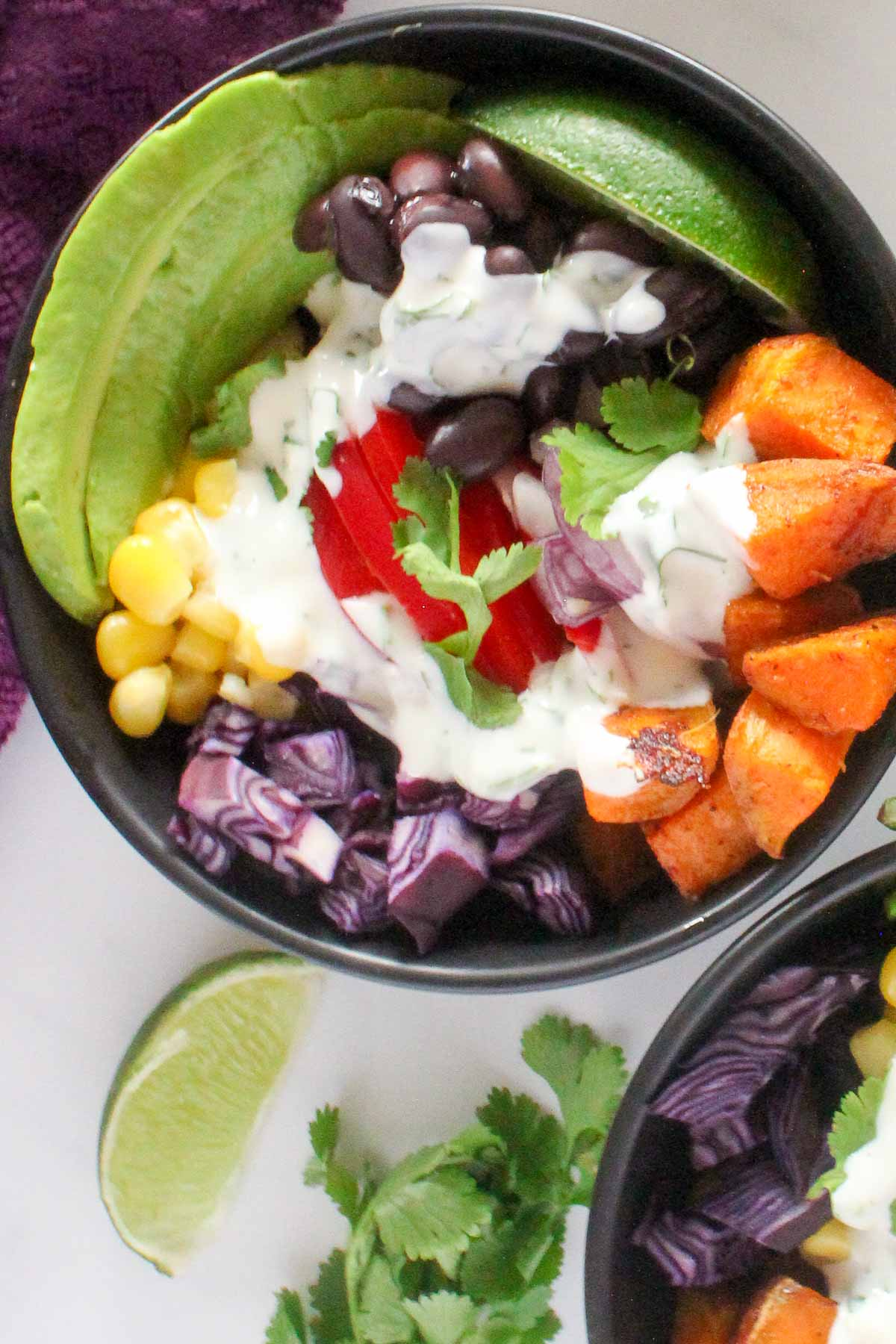 Close up view of black bowl filled with roasted sweet potato cubes, corn kernels, black beans, red cabbage, fresh cilantro and white sauce