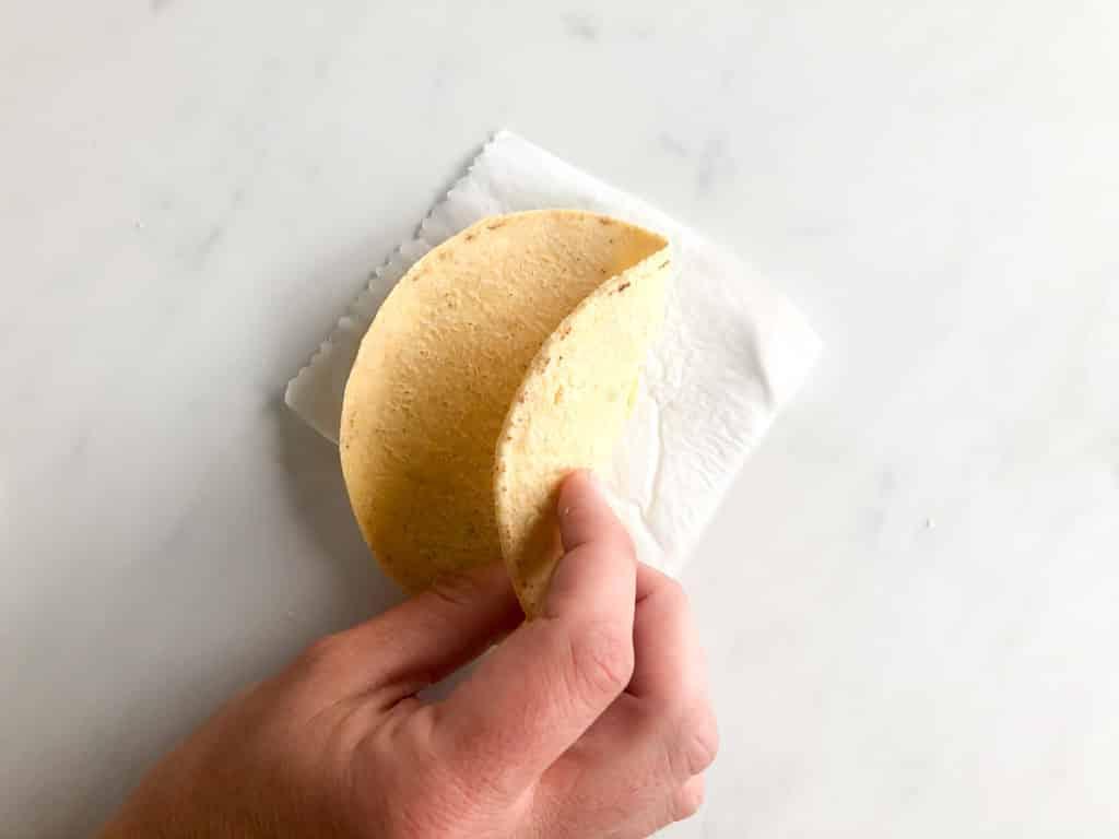 Corn tortilla folded in half