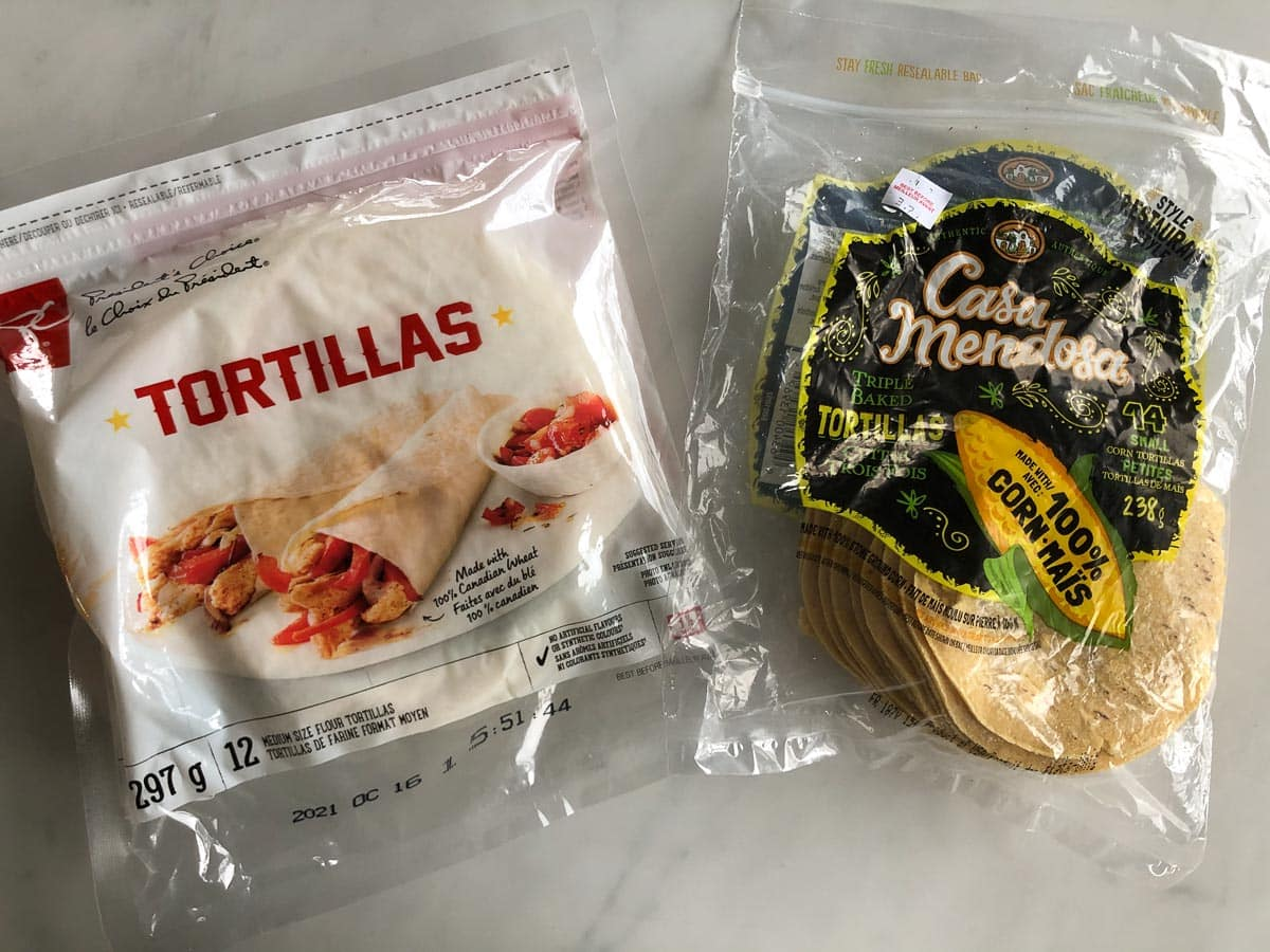 Bag of flour tortilla wraps and bag of corn tortillas